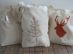 DIY Fabric Christmas Gift Bags via www.craftyscrappyhappy.net