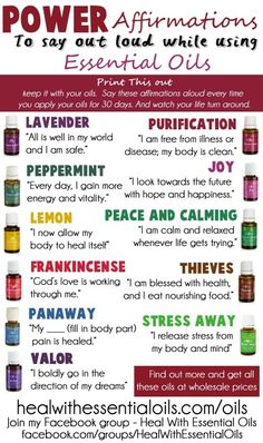 Positive Affirmations to use with Essential Oils #essentialoils