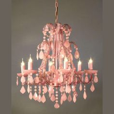 Pink chandelier...how girly is that??