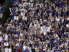 Chicago fans welcome home the Cubs with sea of Fly the W flags Fly The W Flag, Chicago Cubs Fans, Go Cubs Go, Cubs Baseball, Team Photos, Espn, Mlb, Photo Wall