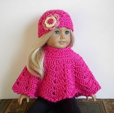 American Girl Doll Clothes: Crocheted Poncho Set with Flowered Hat - Your Choice of Color. $12.50, via Etsy.
