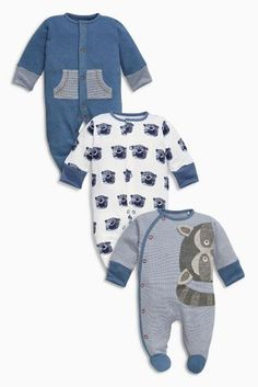 Buy Three Pack Navy Racoon Sleepsuits (0-2yrs) online today at Next: Greece