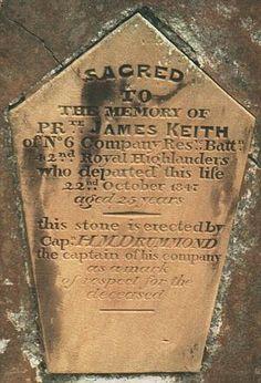 Gravestone of 42nd Highlanders, Bermuda