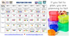 Weekly Meal Plan - 21 Day Fix, Core De Force 1200-1499 Bracket