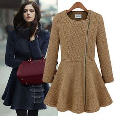 European Fashion Oblique Zipper Slim Woolen Coat