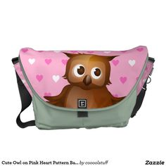 Cute Owl on Pink Heart Pattern Background Courier Bags,Artwork designed by coooolstuff
