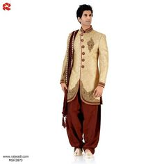 #Sherwani in #Rich #Colors, #FestiveHues and intricate embellishment. view: http://rajwadi.com/Shop/ProductDetails/Men/Sherwanis/MSH3873  #FeelRoyal