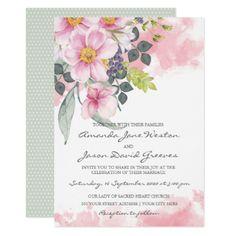 Watercolor Pink Wildflowers Wedding Invitation - invitations custom unique diy personalize occasions