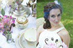 Romantic tea party theme. Blue birdcage veil