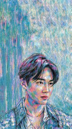 SUHO The mini album Self-Portrait Exo wallpaper Suho Kim Junmyeon # # # Portrait Diego Rivera Frida Kahlo, Exo Lockscreen, Kim Junmyeon, Suho Exo, Exo Members, K Idol, Chalk Pastels, Wood Engraving, Linocut Prints