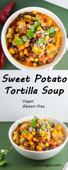 Sweet Potato Tortilla Soup | yupitsvegan.com. Savory, spicy tortilla soup with the hearty and warming addition of sweet potatoes! Vegan, gluten-free, recipe.