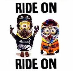 Minion Ride on! Ducati, Yamaha, Biker Quotes, Motorcycle Quotes, Quad, Harley Davidson, Motos Harley, Fox Racing, Dirtbikes