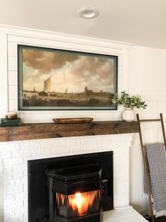 Tv Above Mantle, Above Fireplace Ideas, Home Fireplace, Fireplace Remodel, Living Room With Fireplace, Fireplaces, Frame Around Tv, Picture Frame Tv, Framed Tv
