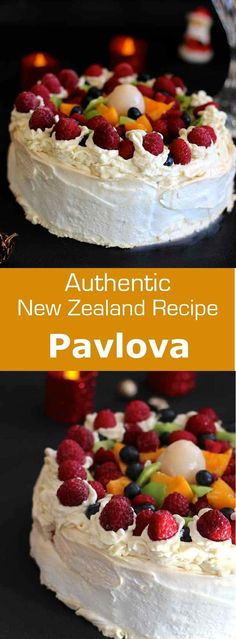 is the emblematic dessert from New Zealand named after Russian ballerina Anna Pavlova, with meringue and topped with fresh fruits. Kiwi Recipes, Sweet Recipes, Cake Recipes, Dessert Recipes, Meringue Desserts, Just Desserts, Delicious Desserts, Meringue Food, Trifle Desserts