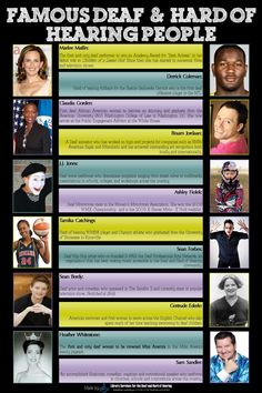 Famous Deaf and Hard of Hearing People. We're doing a project on Deaf and HOH celebrities in class. This is perfect!