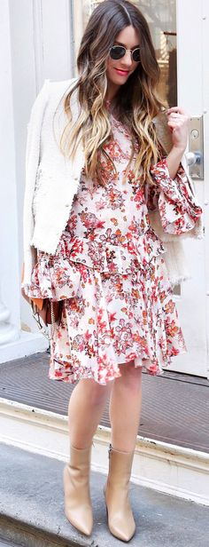 #spring #outfits  White Jacket & White Printed Dress & Beige Leather Booties
