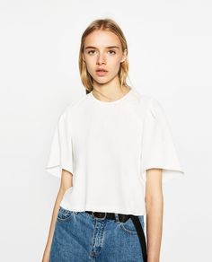 Image 2 of CROPPED TOP WITH PLEAT DETAIL from Zara