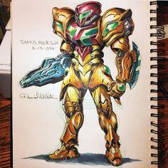 March of Robots by Mecha-Zone on DeviantArt Metroid Samus, Samus Aran, Zero Suit Samus, Super Metroid, Hack And Slash, Nintendo, Space Pirate, Fantasy Warrior, Fantasy Illustration