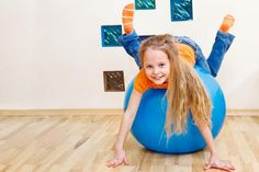 """Therapy ball exercises for little kids and infants. Kaylee has very low muscle tone. To help build her strength and coordination we do exercises listed under """"infant"""" on this list Gross Motor Activities, Gross Motor Skills, Fun Activities, Pediatric Occupational Therapy, Pediatric Ot, Cerebral Palsy Activities, Stability Ball Exercises, Core Stability, Brain Gym"""
