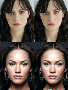 It's crazy how different people look with a different eye color. Zooey & Megan Fox with brown eyes.