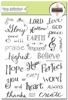 Sweet 'n Sassy Stamps - Words of Life: Collection 1 Clear Stamp Set, $26.95 (http://www.sweetnsassystamps.com/words-of-life-collection-1-clear-stamp-set/)