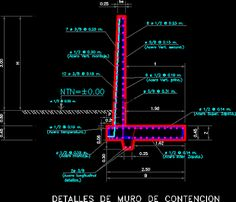 Plan d'un Mur de soutènement en dwg Retaining Wall Construction, Steel Frame Construction, Bloc Autocad, Structural Drawing, Diy Playground, Civil Engineering, Small House Plans, Foundation, 1