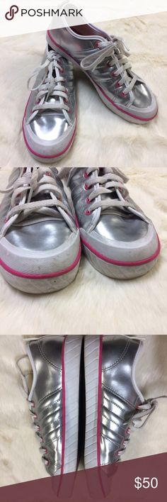 Size 7 Metallic Silver Lace Up Adidas Sneakers Some signs of wear/staining-see pics. Still lots of life left in these. Size 7 women's. Adidas Shoes Sneakers