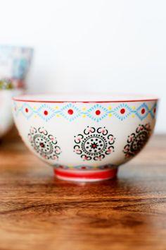 Hand Painted Black Medallion Ceramic Bowl. #earthboundtrading