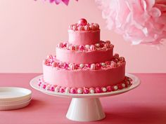 Birthday Cake with Hot Pink Butter Icing recipe from Ina Garten via Food Network