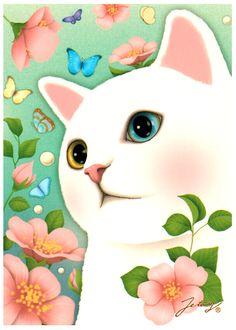 Jetoy Choo Choo Cat Postcard: Vintage Flower