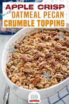 This apple crisp with oatmeal crumble topping is an elevated take on the classic dessert. Serve as is or enjoy with a scoop of ice cream! The filling has tons of fall spice flavors thanks to the delicious combo of cinnamon, nutmeg, and cardamom. They're prominent and noticeable without being overwhelming; they pair perfectly with the sweet and tart apples.   Good Life Eats @goodlifeeats #thanksgivingdesserts #easyfalldesserts #applecrisprecipes #goodlifeeats Holiday Desserts, Christmas Recipes, Thanksgiving Recipes, Just Desserts, Holiday Recipes, Apple Crisp With Oatmeal, Delicious Recipes, Healthy Recipes