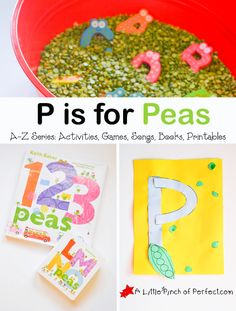 Letter of the Week A-Z Series: P is for Peas Activities and printables to go along with 1-2-3 Peas and LMNO Peas.