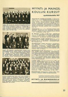 Myynti- ja mainoskoulun kurssit syyslukukaudella 1937