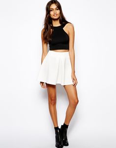 Oh My Love Scuba Front Pleat Skirt