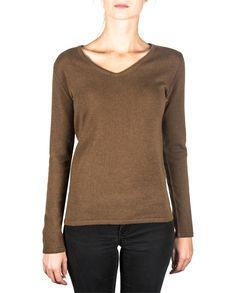 Damen Kaschmir Pullover V-Ausschnitt mocha front Elegant, Tops, Sweaters, Fashion, Cashmere Sweaters, Women's, Classy, Moda, Chic