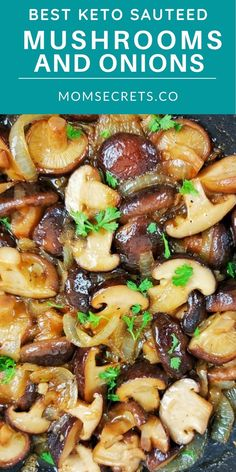 These Garlic Butter Mushrooms with onions are the PERFECT versatile keto side dish for steak, burgers, chicken or pork! They're ready in just 20 minutes!! #MUSHROOMS #KETOSIDEDISH Best Sauteed Mushrooms, How To Cook Mushrooms, Mushroom And Onions, Stuffed Mushrooms, Steak Side Dishes, Low Carb Side Dishes, Side Dish Recipes, Quick Easy Healthy Meals, Good Healthy Recipes