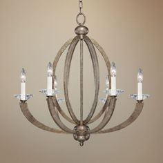 Forum Gold 6 Light 26 And Three Quarter Inch Wide Chandelier Chandelier In Living Room, Chandelier Pendant Lights, Chandelier Ideas, Chandeliers, Cream Candles, Contemporary Chandelier, Candelabra Bulbs, Ceiling Lights, Chandelier