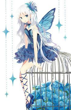 Anime butterfly girl