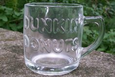 "20.00 Dunkin' Donuts Clear Glass Embossed Mug 3 3/8""H"