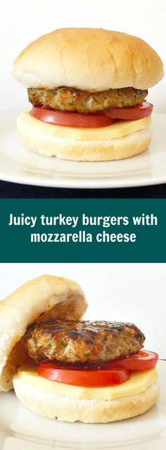Juicy turkey burgers with mozzarella cheese, served with burger buns, slices of tomatoes, smoked cheese and sweet chilli sauce A healthy recipe that is super easy to make.