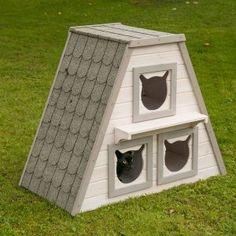 Casetta cuccia per gatti da esterno in legno
