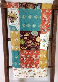 Rustic Woodland Baby Quilt, Oragnic, Gender Neutral, Patchwork Quilt, Fort Firefly, Critter Camp, Baby Bedding, Crib Bedding, Play mat on Etsy, $129.00