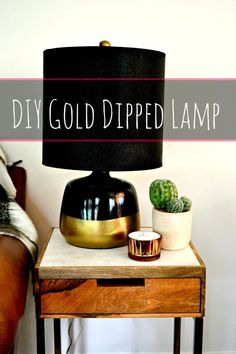 DIY Gold Dipped Lamp- Quick & Easy thrift store lamp makeover The Effective Pictures We Offer You Ab Spray Paint Cans, Lamp Makeover, Gold Diy, Unique Lamps, Gold Dipped, Really Cool Stuff, Thrifting, Desk Lamp, Store