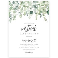 Virtual Greenery Baby Shower Invitation | Forever Your Prints