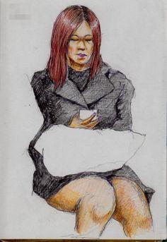 黒いワンピースのお姉さん It is a sketch of a woman wearing a black one piece . I drew on the train going to work.