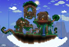 Welcome, Terrarians, to the monthly Creation Compendium! Terraria House Design, Terraria House Ideas, Minecraft Blueprints, Minecraft Houses, Minecraft Ideas, Minecraft Modern, Minecraft City, Minecraft Posters, Floating Island