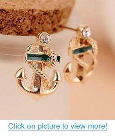 Designer Handsome Navy Style Anchor Earrings for Female Anchor Jewelry, Anchor Earrings, Nautical Jewelry, Stud Earrings, Crystal Earrings, Gold Rhinestone, Rhinestone Jewelry, Hand Jewelry, Metal Jewelry