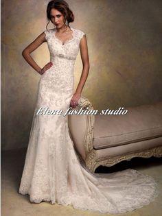Open back Lace Wedding Dress vintage lace bridal by ELENAWEDDING