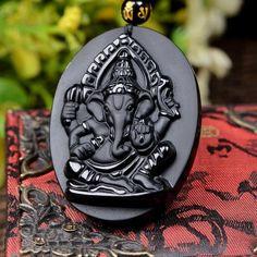 Black Obsidian Elephant Ganesha Amulet; Carved Indian Elephant God Pendant with Necklace; Obsidian Lucky Pendant; Fashion Jewelry;