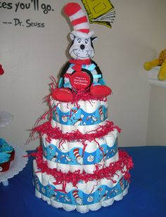 Dr. Seuss Baby Shower Ideas | ... , so super easy! 125 diapers with a Cat In The Hat baby toy on top